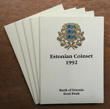 More details for h111 estonia 1992 5 x 5 coin mint bu unc year set in original packaging