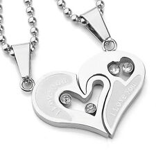 1Set His & Hers Stainless Steel Love Heart Men Women Couple Pendant Necklace US