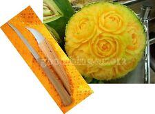 2PCS VINTAGE THAI ART TOOLs CARVING KNIFE FRUIT SOAP VEGETABLE WOODEN HANDLE