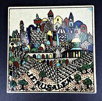 Jerusalem Walled City Vtg Ceramic Trivet Tile Barbour Ceramides 6x6