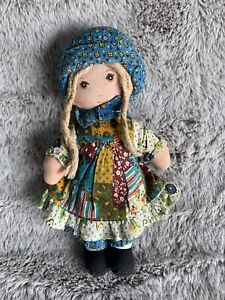 "Vintage 1970s THE ORIGINAL HOLLY HOBBIE 9"" cloth ragdoll by Knickerbocker Toys"