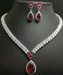 Simulated 925 Sterling Silver Pink Pear Drop CZ Necklace with Matching Earrings
