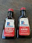 2 Vintage McCormick Spice Extract Collectible Glass Bottles Peppermint Almond