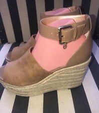 GUESS Women's Amanda 2 Espadrille Buckle Strap Wedges Sandals Tan Size 8.5 M NEW