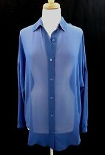La Classe Couture Womens Blouse Top Size M Over Sized Indigo Sheer Long Sleeve