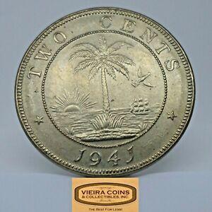 1941 Liberia 2 Cents, Free Shipping  -  #C20718NQ