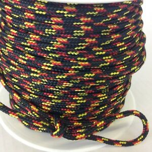 Reepschnur 2, 3 und 4 mm schwarz-rot-gelb PES Polyester geflochten Flechtkordel