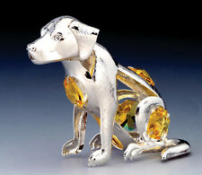 "SWAROVSKI CRYSTAL ELEMENTS ""Year of Dog"" FIGURINE - ORNAMENT SILVE PLATED"