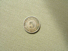 1920  'STRAITS SETTLEMENTS'  CU-NI   FIVE CENT COIN....  FAIR GRADE         'M'