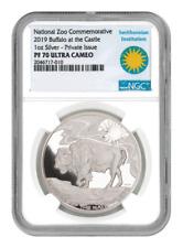 2019 Smithsonian Zoo Buffalo 1oz Silver Commemorative Medal NGC PF70 UC