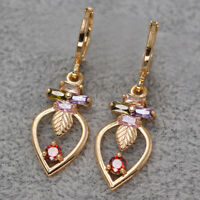 18K Yellow Gold Filled Dangle Earrings Women oval Leaves Hollow Gift Boho stone