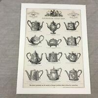 1880 Versilbert Teekanne Muster Original Viktorianisch Werbung Groß Antik Druck