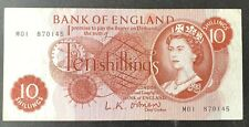 Bank of England. Ten Shillings. B287. O'Brien. First Run. M01 870145. F. (BN76)
