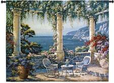 Mediterranean Terrace Flower Sea View Seascape Tapestry