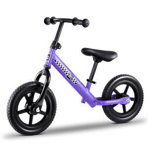 """Kids Balance Bike Ride On Toys Push Bicycle Wheels Toddler Baby 12"""" Bikes Purple"""