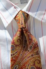 Macy's Club Room Gold, Blue, Burgundy, and White Paisley All Silk Necktie - USA!