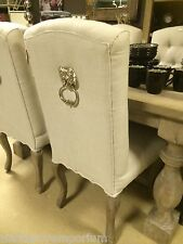 Stunning Pair Silver Lion Door Knocker Dining Room Chairs Padded Fabric Seats