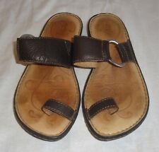 BORN Bown Leather Toe Sandals,Flip-Flop Slides,Silver Ring,Comfort Shoes,8/39