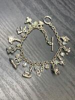 "Vintage Silver Tone Assorted  Charms aurora borealis crystal Bracelet 8"" Large"