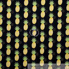 BonEful Fabric FQ Cotton Quilt Black Yellow Pineapple Island Tropical Fruit Dot