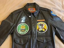 Men's A2 Leather Jacket With Squadron Patches