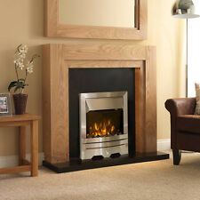 """ELECTRIC OAK WOOD SURROUND SILVER BLACK FLAT WALL FIRE FIREPLACE SUITE LARGE 54"""""""