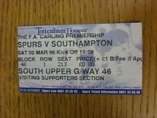 02/03/1996 Ticket: Tottenham Hotspur v Southampton (Folded). This item has been