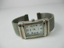 Collezier Women's Silver-Toned Rectangular Face Cuff Band Analog Watch *working*