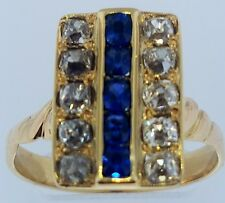 Antique~Old Mine Cut Diamonds (1.0 Ct)+Sapphires (1/2 Ct.)~Lady's 14K Gold Ring~