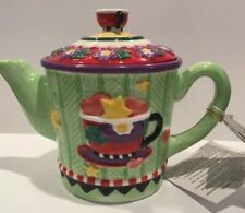 Mary Engelbreit By Enesco 2003 Comfort &Joy Green W/Teacup Wax-Filled Container