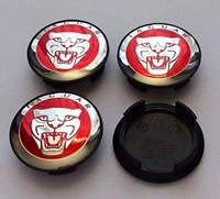 Rot Jaguar 4 x 58mm Alufelge Nabenkappen Nabendeckel Satz Wheel Cap
