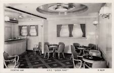 Postcard RPPC Ship RMS Queen Mary Cocktail Bar R Deck