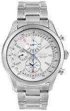 Seiko Men's Perpetual Chronograph White Easy Read Dial Bracelet Watch