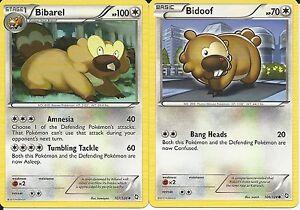 Pokemon Cards: Bibarel 107/124 & Bidoof 106/124 Dragons Exalted Set! NM
