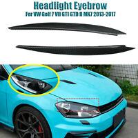 Carbon Fiber Headlight Cover Eyebrow Eyelidsx For VW Golf 7 GTI GTD R MK7 13-17