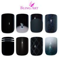 False Nails Black Glitter Matte Gel Fake French Manicure Medium Tips