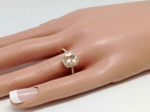 1.68Ct Genuine Natural Morganite And Diamond Ring Solid 14K Yellow Gold, Cushion