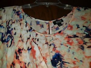 A.N.A. SUPER CUTE MULTI COLOR PRINTED TWIST FRONT TOP. SIZE LARGE. GENTLY USED