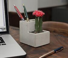 Kikkerland Small Concrete Desktop Planter & Pen Pencil Pot Office House Plant