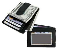 Men's Genuine Cow Leather Strong MONEY CLIP Wallet ID Badge Thin Front Pocket