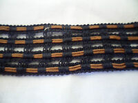 ANTIQUE VINTAGE FRENCH OLD LACE TRIM SEWING DARK NAVY MOCHA 125 CM DOLL BEAR