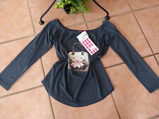 MAT Fashion shirt tunica 38 40 XS Nuovo! Petrol tasche-soggetto STRASS Lagenlook