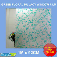 GREEN FLORAL FROSTED PRIVACY WINDOW FILM - 92cm x 1m Roll S005