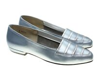 California Magdesians Womens Metallic Blue Silver Leather Flats Shoes 11M USA