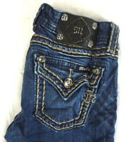 MISS ME Women's Dark Wash Top Stitch Flap Pocket Bootcut Denim Jeans 26 x 31 EUC