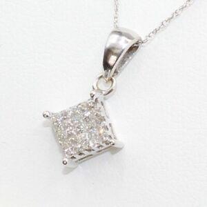 "1/2 Carat Diamond Square Pendant 10K White Gold Charm Necklace 16"" Chain Choker."