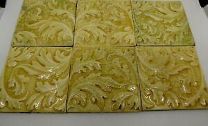 Antique Crackle Glaze Relief Moulded Tiles x 6 / Art Nouveau