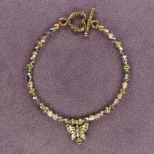 """**Sparkle** CRYSTAL TOTEM BRACELET Butterfly Insect Czech Fire Polished Beads 8"""""""