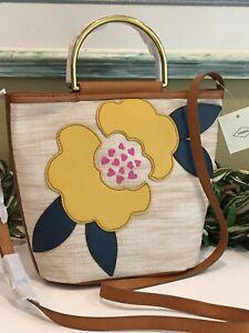 FOSSIL AMY SMALL BUCKET BAG SATCHEL CROSSBODY SHOULDER FLOWER PATCH HOBO NEW