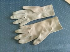 Gloves wrist length,pale blue size 6, stitched design at wrist, gently worn,60's